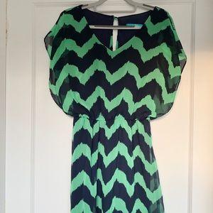 BUTTONS - Green and Blue Chevron Dress